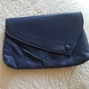 Navy oversized vegan leather clutch